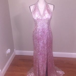 Entice evening wear dress pink and gold size 6
